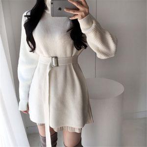 Elegant Tunic Belted Knitted Dress Women Autumn Winter Sweater Dress Fashion Korean Turtleneck Side Split Pullover Dress Vestido A1112