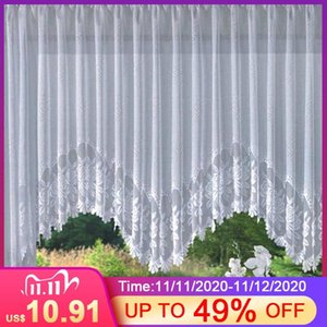 4 Sizes Romantic Style European Knitted Jacquard Arch Curtain Half Shading White Lace Curtain Q1126