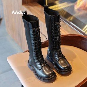 Aadct 2020 Girls Boots New Fashion Autumn Kids High Stivali per ragazze Scarpe per bambini di marca Y1118