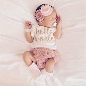 الصيف طفلة قصيرة الأكمام الملابس مجموعة الوليد الملابس داخلية + pp سروال + عقال الرضع الطفل ملابس للبنات LJ201223