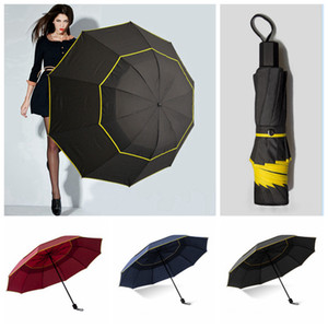 Double Strong Wind Resistant Umbrella Rain Women Big Folding Non Matic Umbrellas Men Family Travel Business Paraguas RRA3912