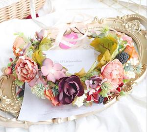 Bridal flowers crown wreath boutique girls stereo flowers maple leaf princess garland Sea Beach Wreath Children Halloween hairbands S523