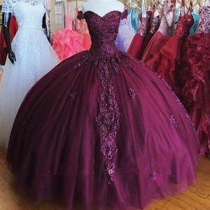 2021 Boncuk Dantel Quinceanera Elbise Off Omuz Sweet 16 Balo Abiye Lace Up vestidos 15 anos XV elbise de