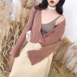 2019 spring autumn new Korean version of lazy wind short flared sleeves sweater women cardigan sweater coat women outside1