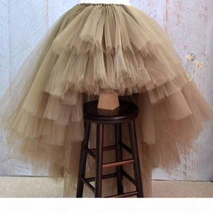Asymmetrical High Low Tiered Puffy Tulle Skirts For Women Special Designed Floor Length Long Women Skirt Tutu 2017 Custom Made Y19050502