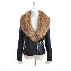 Faroonee PU Leather Jacket with Faux Fur Collar Women Autumn Coat Female Slim Short Outerwear Overcoat Plus Size 3X Q1660