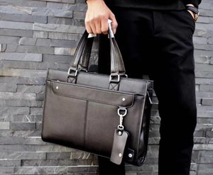 New popular popular classic men's soft leather briefcase elegant simple fashion bag fashion big bag travel bag