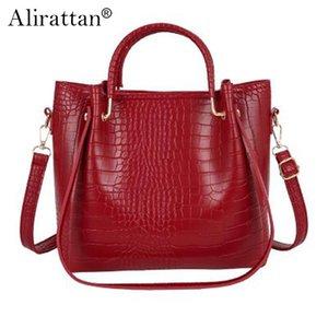 Сумки на плечо ретро крокодил узор женская сумка из искусственной кожи дизайн моды все матч большой емкости ведро