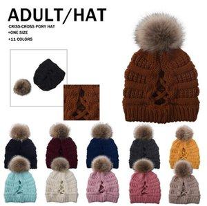 Ponytail Criss Cross Beanie Pom Pom Caps Knitted Hat Women Winter Outdoor Skull Cap Warm Detachable Removable Pompom Hat Beanies Hat BEC4224