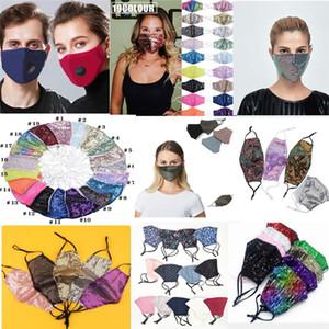 Multi desenhos Face Boca máscara com válvula PM2.5 Filtro Sublimação Máscara Rhinestone Ajustável Reutilizável lavável para Kids Sequin Face Mask
