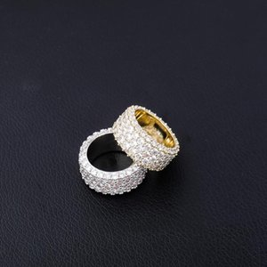 Hip Hop Ring Luxury Full Three rows Cubic Zircon Gold Silver color Charm Jewelry Punk Male Women Finger Rings Size 7-11
