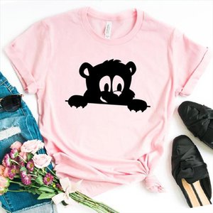 Peeking Bear Women tshirt Cotton Casual Funny t shirt Gift For Lady Yong Girl Top Tee 6 Color Drop Ship S 814
