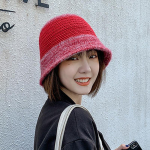 Cokk Bucket Hat Women Winter Autumn Wool Knitted Fur Bucket Hats For Women Korean Casual Bob Hat Cap Female Vintage Gorras Swy sqcoGD
