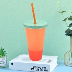 Bicchieri di plastica magica della tazza del cambio di colore di 24oz con il coperchio e la paglia dei colori della caramella riutilizzabili della caramella della tazza fredda della bottiglia di acqua estiva cca12201 25pcs
