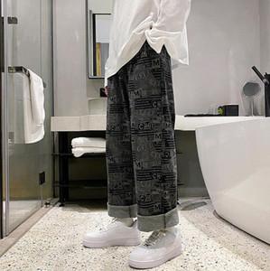 Mens Straight Jeans Long Trousers Pants Mens True Coarse Line Religion Jeans Clothes Man Sports Elastic Waist Wide Leg casual pants