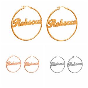 1 Pair Stainless Steel Custom Name Earrings Personalized Big Nameplate Handmade Jewelry For Women Girls Round Circle Oorbellen J1202