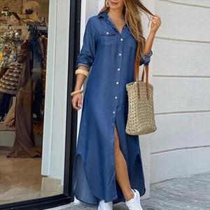 Autumn Long Dress Long Sleeve Shirt Dress Women Character Print Pockets Side Split Button Maxi Loose Casual White Shirt