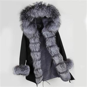 Furtjy Parka Giacca invernale Donne Big Natural Real Fur Collar Caldo Silver Silver PU Parkas Capispalla Cappotto invernale Donna1