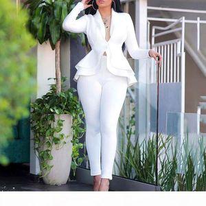 2020 Autumn Blazer Set Women Ladies blazer Ruffle Women Suits Elegant Women's Suit Sets Winter Office Lady Pant Suits For
