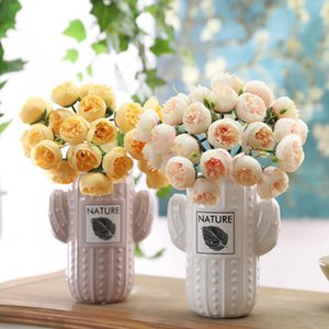 27 Heads Artificial Fake Camellia Rose Bouquet Silk Flower Wedding Party Home DIY Home decoration fake Flower bouquet 2020