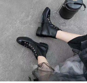 women fashion lace up design martin boots shoes autumn low heels female casual run boots black leather ladies loafers ankle boots shoes