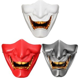 Lower Half face mask Demon Evil masks Gold Teeth Costume Party Props Resin Halloween Cosplay irsoft Paintball CS Game Army Fans Supplies
