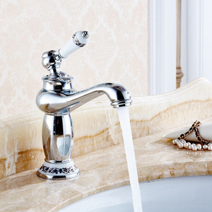 Upscale Retro European Bathroom Basin Faucets Mixer Tap Ceramic Decoration Plating Single Handle Hot and Cold Deck Mount