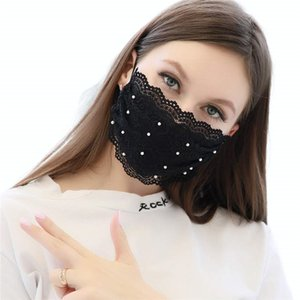 Lace Mouth Cover Pearl Mask Scarf Reusable Face Cover Party Masks for Women Sexy Girls Adults Adjustable Facial Jewelry Anti Dust