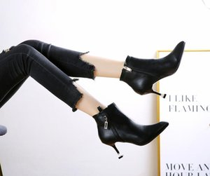 2020 autumn and winter new European and American fashion pointed rhinestone buckle high-heeled non-slip boots bare boots