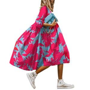 Donne Plus Size Abito allentato Abito a mezza manica girocollo Abiti in tutu solidi impilati Vestiti Famale Vestiti irregolari