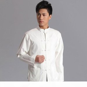 Long Sleeve Cotton Traditional Chinese Clothes Tang Suit Top Men Tai Chi Uniform Spring Shirt Blouse Coat for Men