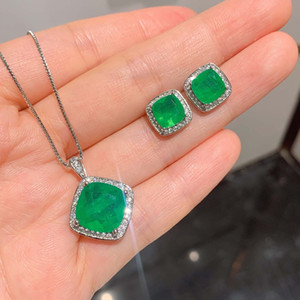Hot Selling High Quality Emerald Tourmaline Set Earrings Pendant Necklace For Women Engagement Wedding Gift Jewelry