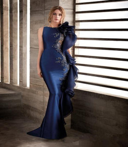 2021 Navy Blue Mermaid Lace Beaded African Evening Dresses Sexy Cheap Formal Plus Size Prom Pageant Gowns Vestidos De Novia Cheap