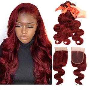 Бразильские волосы девственницы 3 пучка с бесплатной части закрытия # ошибка прямая волна тела человеческие пакеты волос с закрытие бордовый цветной