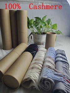 Com caixa de tubo redonda 2019 inverno unisex top 100% cashmere lenço clássico verificar lenços mulheres homens pashmina luxo designer xales e lenços