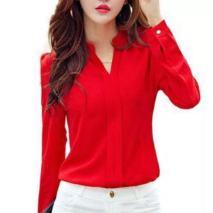 Long Sleeve Shirt Women Autumn Clothing Fashion Slim Chiffon Blouse V Neck Korean Elegant Ladies Office Shirts White Red DF2324 B1202