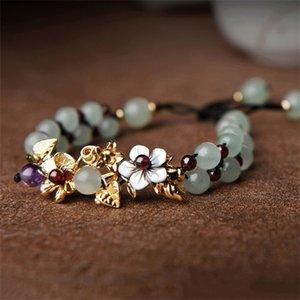 Natural Jade Beads Bangle For Women Hand Braided Vintage Punk Inspirational Flowers Bracelets With Garnet Q1121