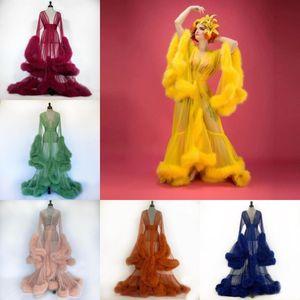Personalice las túnicas de camisón de plumas nupciales NUEVA LLEGADA TRANSPARENTE TULLE LADY SLEEPWEETWETS CHETETS LARGO SUPERIOR DESPUERTAS DESPUÉS DESPUÉS DEL VESTIDO DE FIESTA