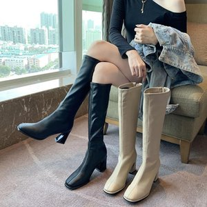2021 INS Fashion Women 7cm Black Block High Heels Long Boots New Winter Warm Knee High Boots Soft Leather Thigh Shoes