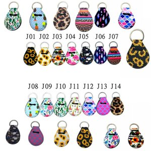 30ml Neoprene Hand Sanitizer Quarter Holder Keychain Diving Material for Party Favor Unicorn Pattern Floral Print with Metal Ring FY8120