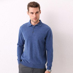 HLICYUM wool sweater men's lapel pullover sweater 100% wool casual Turn-down Collar cashmere large size1