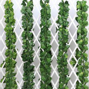 2.3M Artificial Vine Fake Creeper Green Leaves Boston Ivy Vine Foliage Flower For Home Garden Wall Hanging Rattan DIY Wedding Decoration