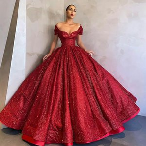 Sparkly Red Sequined Quinceanera Dresses Off Shoulder Sweetheart Neck Ball Gown Prom Dress Graduation Party Gowns