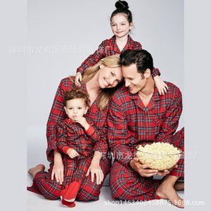 Family Christmas Pajamas Red Plaid Home Wear Mommy and Me Clothes Father Son Shirts +pants Parent Child Kids Baby Pyjamas Su1093
