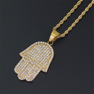 Hip Hop Bling Corrente Torção de 24 polegadas Mulheres Homens Casal Ouro Prata Cor Gelado Out Hamsa mão colar de pingente com jóias CZ Christm 76 O2