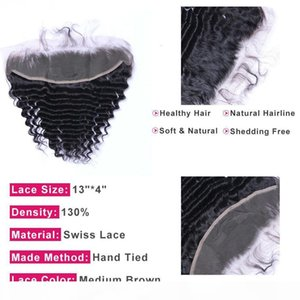 PrePlucked Deep Wave Lace Frontal Closure Malaysian Human Hair 13x4 Ear to Ear Frontal Remy Hair Extensions