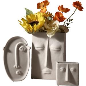 Nórdico Ins Home Decor Vaso De Cerâmica Para Flores Face Humana Design Decoração Home Vaso Creative Pote para Flor Secado Vaso