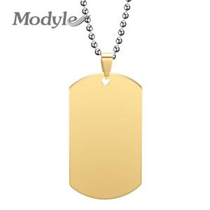Modyle Dog Etiquetas Colgante de acero inoxidables Hombres Mujeres Collar Oro Plata Color Negro Color Ejército Memoria Joyería