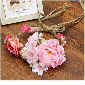 Haimeikang 화환 머리 꽃 손목 꽃 크라운 조정 가능한 장식 패브릭 로프 등나무 시뮬레이션 꽃 머리 jlleqe