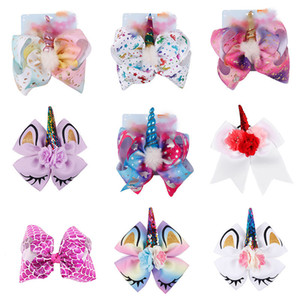 Dessin animé de 8 pouces Cheval Barrettes Fleurs Bow Cheveux Clip Dessin animé Cheveux Arc avec Clip Kidfs Hair Accessoires Baby Cosplay Headwear C4696